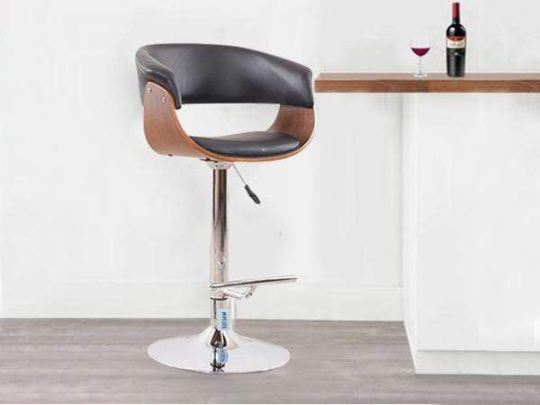 Calabah Bar Stool In Black & Walnut Finish GMC Standard Chair FN-GMC-003703