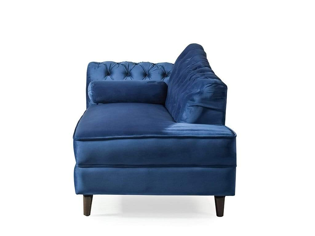 Chaise Lounge Sofa In Blue Velvet Fabric Getmycouch