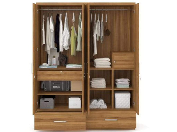 Classy Engineered Wood 4 Door Wardrobe GMC Express Storage