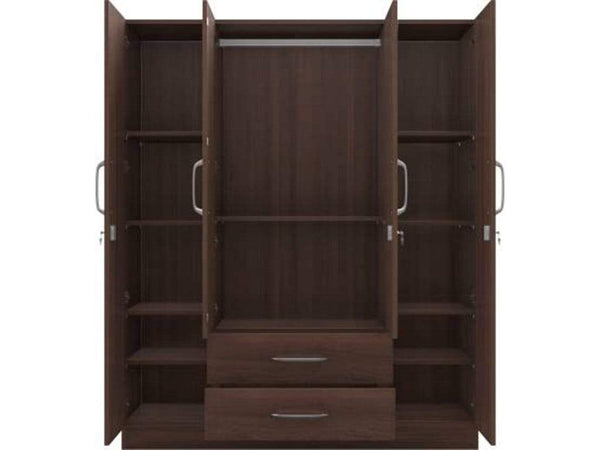 Crystal Aspire Engineered Wood 4 Door Wardrobe GMC Express Storage FN-GMC-006966