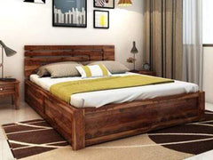Edge Sheesham Wood Solid Wood King Hydraulic Bed GMC Standard Beds