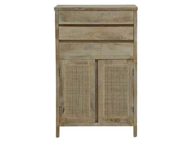 Essex Solid Wood Cabinet with Cane Work in Heritage White Finish by Amberville GMC Express Storage FN-GMC-008404