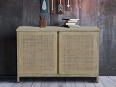 Essex Solid Wood Sideboard with Cane Work in Heritage White Finish by Amberville GMC Express Storage FN-GMC-008374