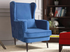 Genoa Wing Chair in Blue Velvet Fabric