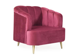 Louis Wing Room Chair In Premium Velvet Fabric