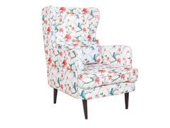 Genoa Wing Chair in Floral Cotton Fabric