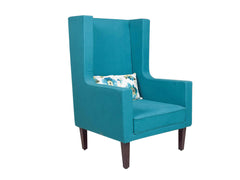 Morgen Wing Chair in Blue Color Cotton Fabric