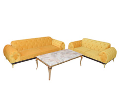 Karter Quilted Five Seater Sofa In Yellow Color