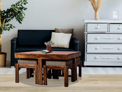 Kivaha Coffee Table With Four Stool In Sheesham Wood