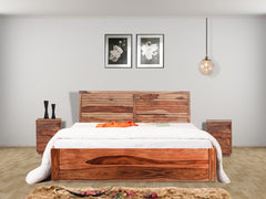Terence Sheesham Wood Box Storage Bed  + Zephyr Bedside Table Pair Bondosoft Mattress (Combo Offer)