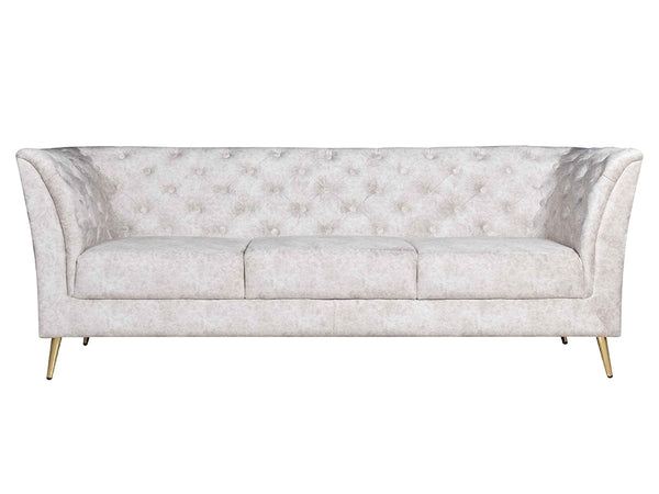 Weston 3 Seater Sofa In Beige Premium Velvet Fabric