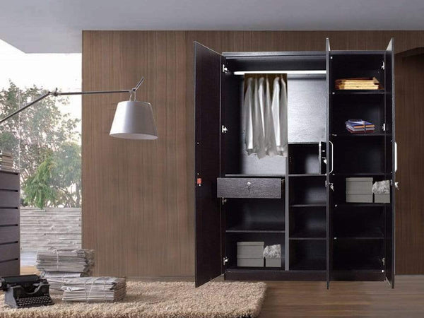 Grace Three Door Wardrobe in Natural Wenge Finish By Kosmo GMC Express Storage FN-GMC-005423