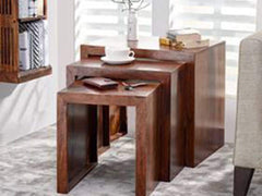 Hamilton Nested Stools In Teak Finish By Urban Ladder GMC Express Table FN-GMC-007354
