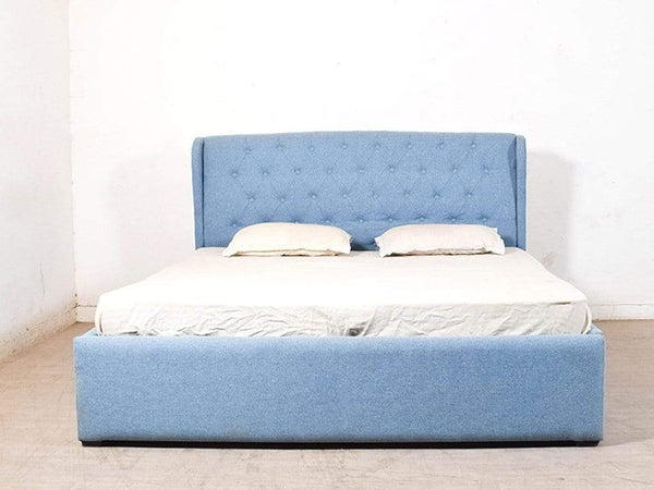 Holmebrook Upholstered King Size Bed With Box Storage In Blue Colour GMC Express Beds FN-GMC-004721