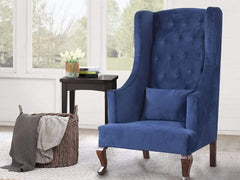 Janet Chesterfield High Back Wing Chair In Premium Fabric GMC Standard Chair FN-GMC-004227