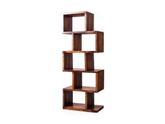 Jefferson Bookshelf cum Display Cabinet in Teak Finish by WoodsWorth GMC Standard Storage FN-GMC-008422