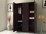 Julian 3 Door Wardrobe Without Mirror & Drawer In Wenge Finish GMC Express Storage FN-GMC-008478
