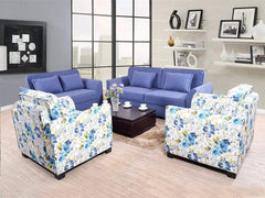 Keeper Seven Seater Sofa Set In Blue and Floral Two Seater GMC Standard Sofa FN-GMC-003337