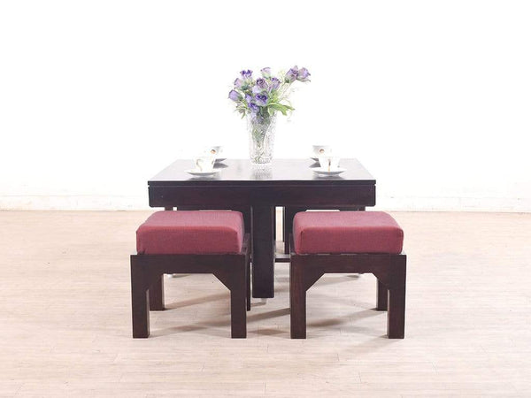Kivaha Coffee Table With Four Stool In Mahogany Finish GMC Standard Table FN-GMC-003742