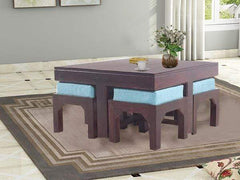 Kivaha Coffee Table With Four Stool In Mahogany Finish GMC Standard Table FN-GMC-003743