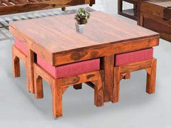 Kivaha Coffee Table With Four Stool In Teak Finish GMC Express Table FN-GMC-003502
