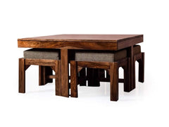 Kivaha Coffee Table With Four Stool In Teak Finish GMC Express Table FN-GMC-008815