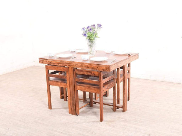 Kivaha Four Seater Dining Set In Sheesham Wood GMC Standard Table FN-GMC-003701