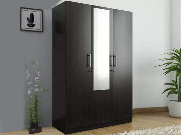 Kosmo Optima Three Door Wardrobe In Wenge Finish GMC Express Storage FN-GMC-006025
