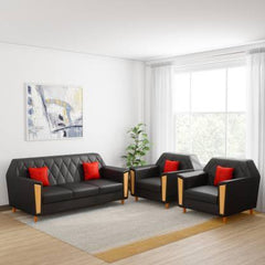 Kurlon Crescent Leatherette 3 + 1 + 1 Black Sofa Set GMC Standard Sofa FN-GMC-008233