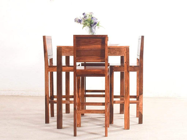 "Liana 39"" High Dining Table Set With Oribi Chair In Teak Finish GMC Express Table FN-GMC-005335"