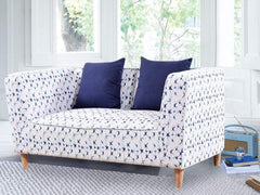 Liana Love-Seat In Premium Floral Blue Fabric GMC Express Sofa FN-GMC-003809