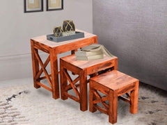 Liana Nested Stools In Teak Finish - (Set Of 3) GMC Standard Table FN-GMC-004556