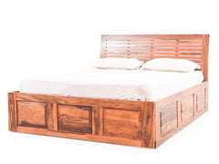 Lindo Queen Size Bed With Pull Out Drawer Storage In Teak Finish GMC Express Bed FN-GMC-003903