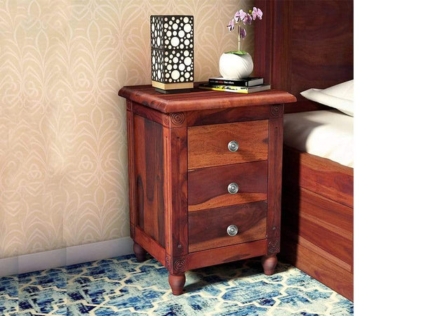 Louis Solid Wood Bedside Chest in Honey Oak Finish by Amberville GMC Express Table FN-GMC-008366