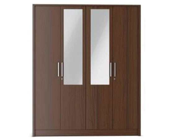 Nevada Engineered Wood 4 Door Wardrobe With Mirror In Walnut GMC Express Storage FN-GMC-008128