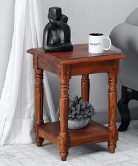 Niwar Solid Wood End Table in Warm Walnut Finish GMC Express Table FN-GMC-008671