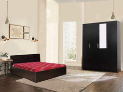 Opus Queen Size Storage Bed + Julian 4 Door Wardrobe + Dunlop Mattress 60x78x4 (Combo Offer) GMC Express Beds FN-GMC-008580