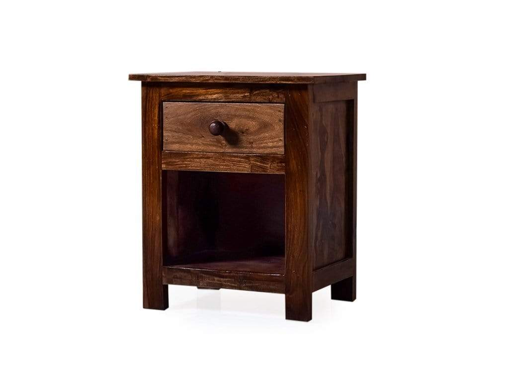 Picture of: Soren Single Drawer Bed Side Table In Teak Finish Getmycouch