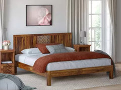 PureWood Sheesham King Size Bed in Teak Finish