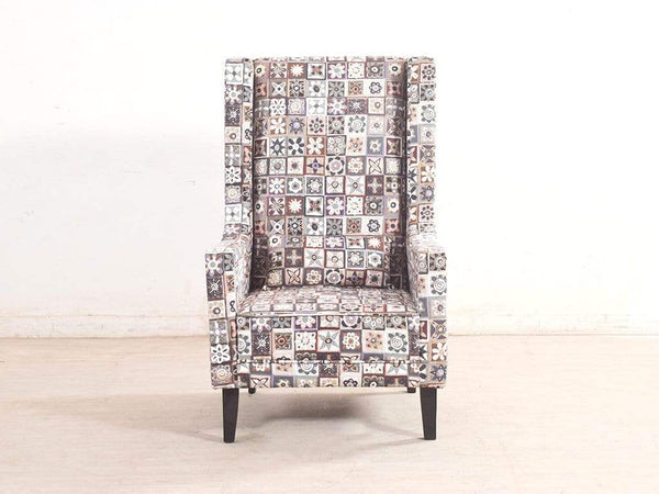 Rachel Wing Chair In Premium Printed Luxe Fabric GMC Standard Chair FN-GMC-005334