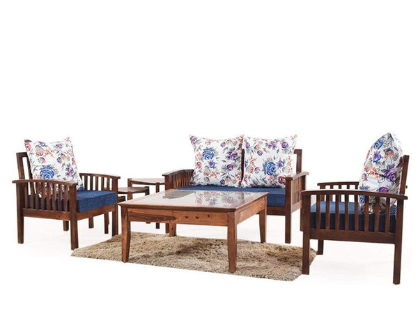 Reden Four Seater Wooden Sofa Set With Premium Fabric (2+1+1) GMC Standard Sofa FN-GMC-004899