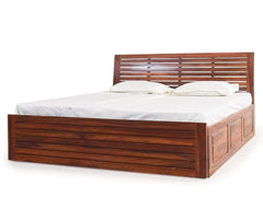 Rilley King Size Bed With Slider Storage In Teak Finish By Woods-Worth GMC Standard Beds FN-GMC-005616