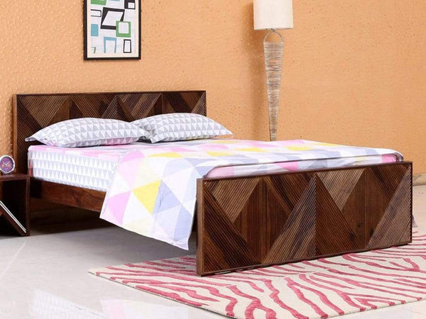 Ritmo Solid Wood King Size Bed in Provincial Teak Finish by Woodsworth GMC Express Beds FN-GMC-008395