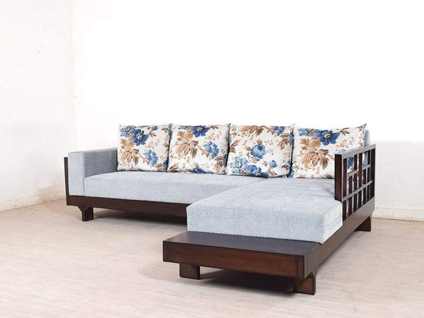 Ronald RHS Sectional Sofa With Coral Cushion In Teak Wood GMC Standard Sofa FN-GMC-004232