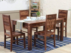 Tesseract Solid Wood 4 Seater Dining Set in Warm Walnut Finish by Woodsworth GMC Express Table FN-GMC-008398