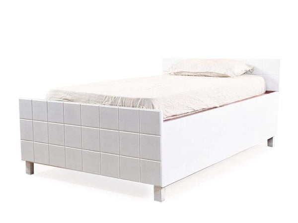 Valor Mini Queen Size Bed With Box Storage In White Finish GMC Standard Beds FN-GMC-004938