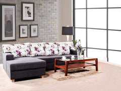 Walter LHS Sectional Sofa With Coral Cushion In Grey Fabric GMC Standard Sofa FN-GMC-003540
