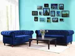 Winchester Five Seater Seater Sofa In Luxe Sapphire Blue Suede Fabric GMC Express Sofa FN-GMC-005294