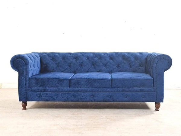 Winchester Three Seater Sofa In  Blue Fabric GMC Express Sofa FN-GMC-008089
