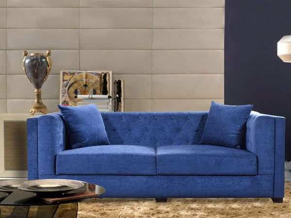 Windsor Three Seater Sofa In Premium Blue Fabric GMC Standard Sofa FN-GMC-003806